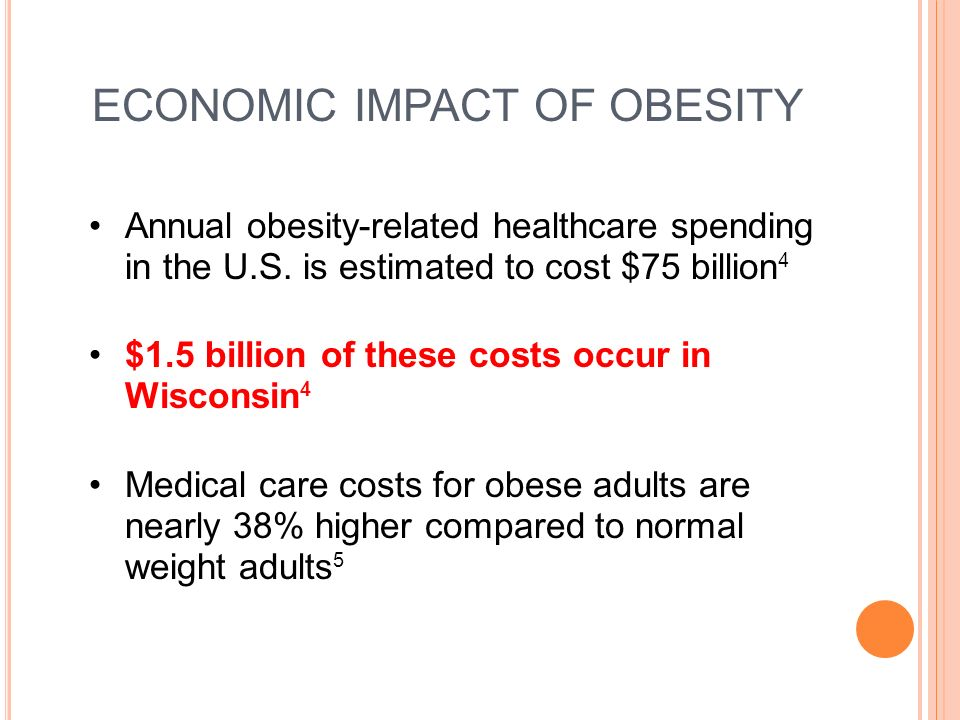 ECONOMIC IMPACT OF OBESITY Annual obesity-related healthcare spending in the U.S.