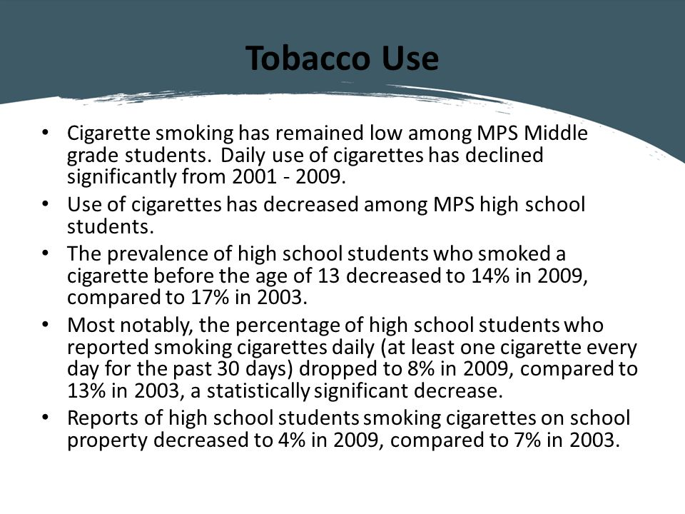 Tobacco Use Cigarette smoking has remained low among MPS Middle grade students.