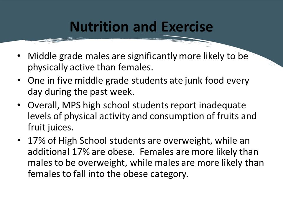 Nutrition and Exercise Middle grade males are significantly more likely to be physically active than females.