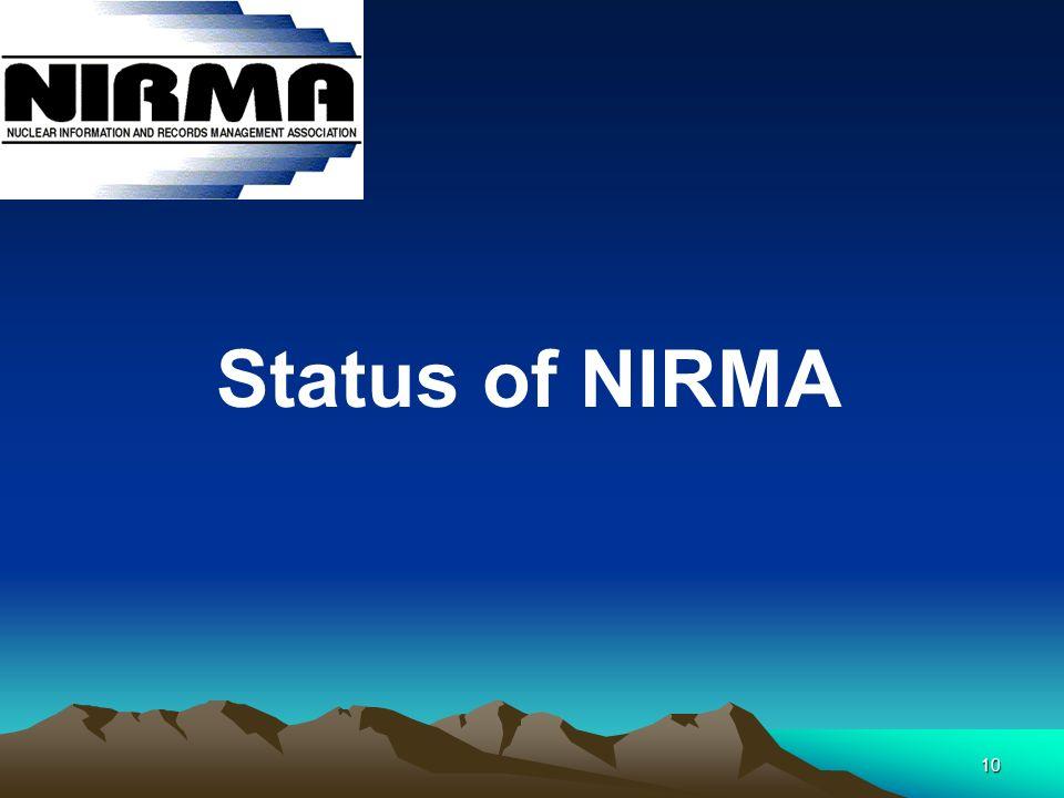 10 Status of NIRMA