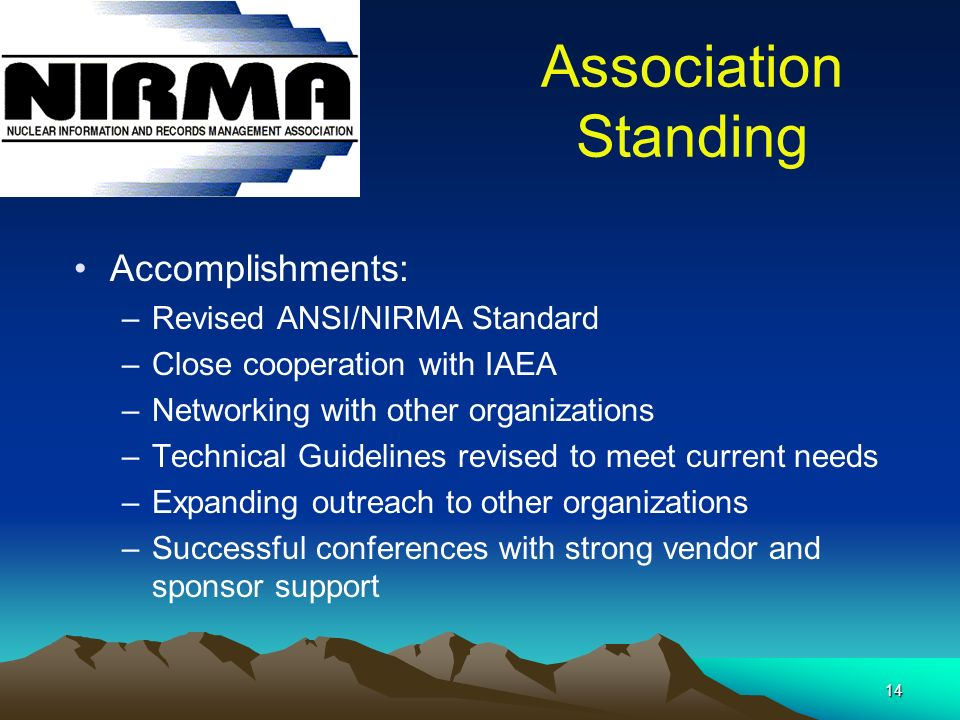 14 Association Standing Accomplishments: –Revised ANSI/NIRMA Standard –Close cooperation with IAEA –Networking with other organizations –Technical Guidelines revised to meet current needs –Expanding outreach to other organizations –Successful conferences with strong vendor and sponsor support
