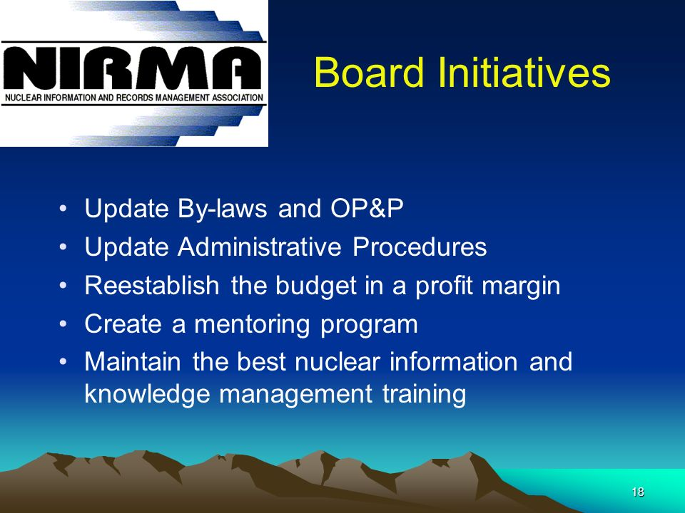 18 Board Initiatives Update By-laws and OP&P Update Administrative Procedures Reestablish the budget in a profit margin Create a mentoring program Maintain the best nuclear information and knowledge management training