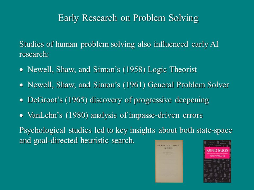 Early Research on Problem Solving Studies of human problem solving also influenced early AI research: Newell, Shaw, and Simons (1958) Logic Theorist Newell, Shaw, and Simons (1958) Logic Theorist Newell, Shaw, and Simons (1961) General Problem Solver Newell, Shaw, and Simons (1961) General Problem Solver DeGroots (1965) discovery of progressive deepening DeGroots (1965) discovery of progressive deepening VanLehns (1980) analysis of impasse-driven errors VanLehns (1980) analysis of impasse-driven errors Psychological studies led to key insights about both state-space and goal-directed heuristic search.