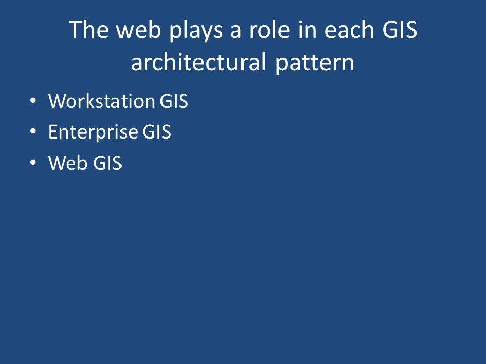 The web plays a role in each GIS architectural pattern Workstation GIS Enterprise GIS Web GIS
