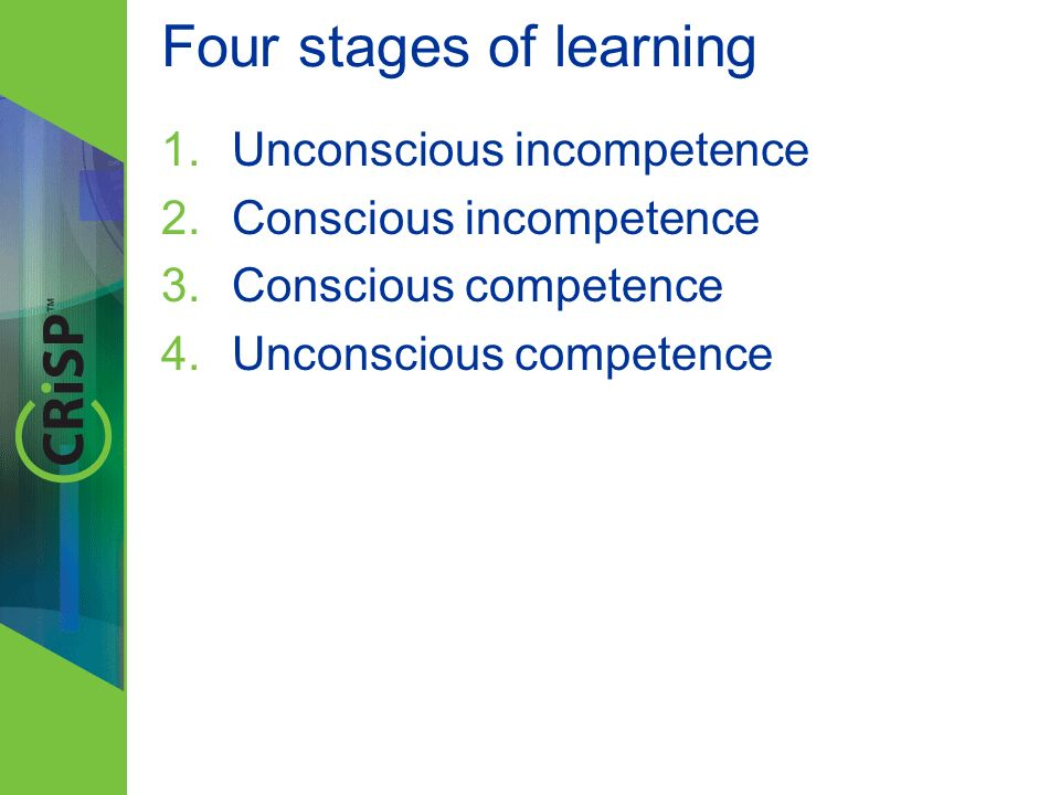 Four stages of learning 1.Unconscious incompetence 2.Conscious incompetence 3.Conscious competence 4.Unconscious competence 4L