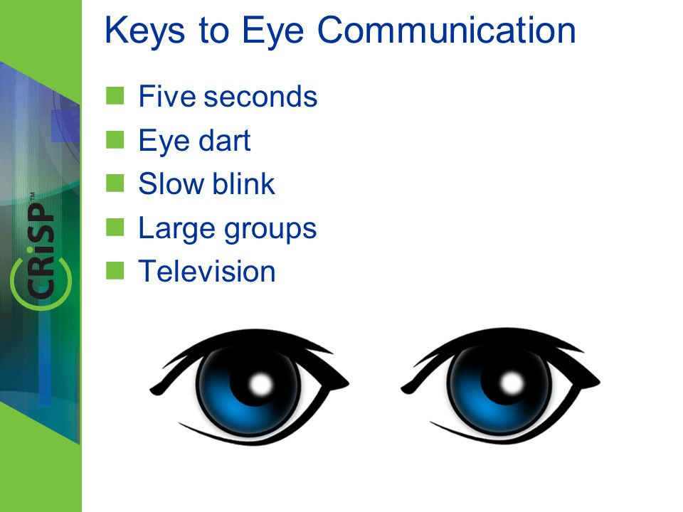 Keys to Eye Communication Five seconds Eye dart Slow blink Large groups Television