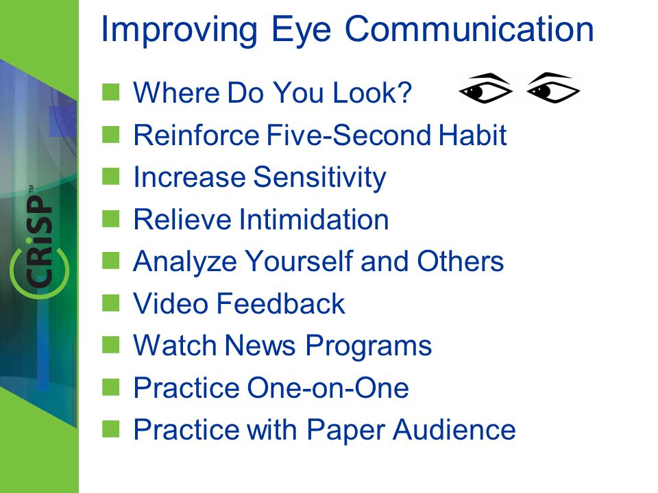 Improving Eye Communication Where Do You Look.
