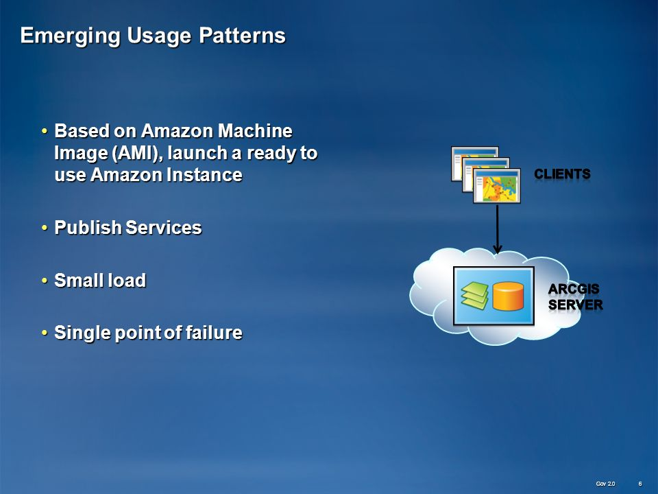 Emerging Usage Patterns Based on Amazon Machine Image (AMI), launch a ready to use Amazon InstanceBased on Amazon Machine Image (AMI), launch a ready to use Amazon Instance Publish ServicesPublish Services Small loadSmall load Single point of failureSingle point of failure Gov 2.0 6