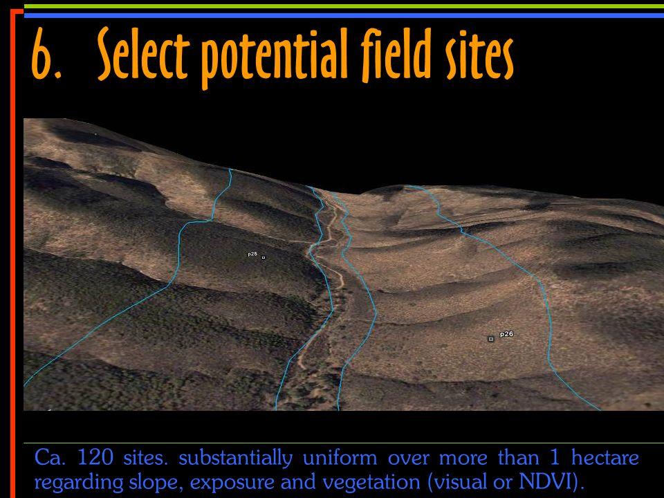 No 14 6.Select potential field sites Ca. 120 sites. substantially uniform over more than 1 hectare regarding slope, exposure and vegetation (visual or