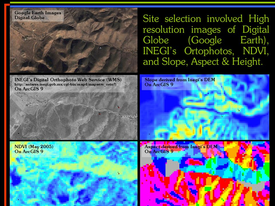No 15 Site selection involved High resolution images of Digital Globe (Google Earth), INEGIs Ortophotos, NDVI, and Slope, Aspect & Height. Google Eart