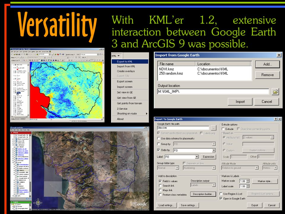 No 19 With KMLer 1.2, extensive interaction between Google Earth 3 and ArcGIS 9 was possible. Versatility