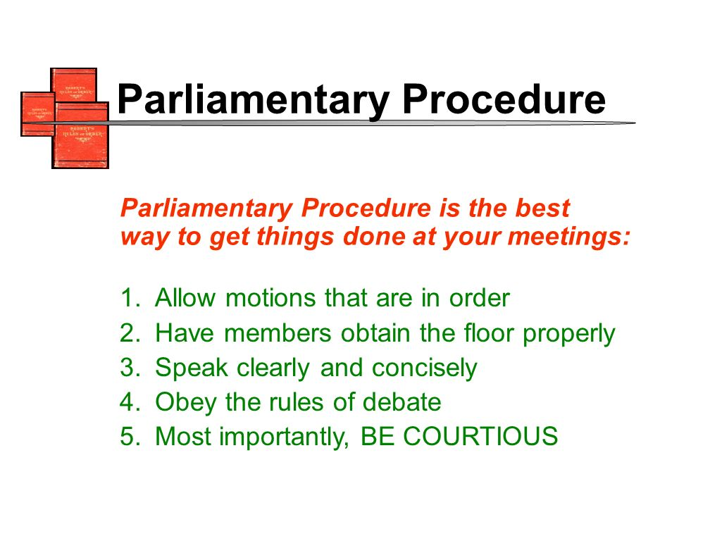 1.Allow motions that are in order 2.Have members obtain the floor properly 3.Speak clearly and concisely 4.Obey the rules of debate 5.Most importantly, BE COURTIOUS Parliamentary Procedure is the best way to get things done at your meetings: Parliamentary Procedure