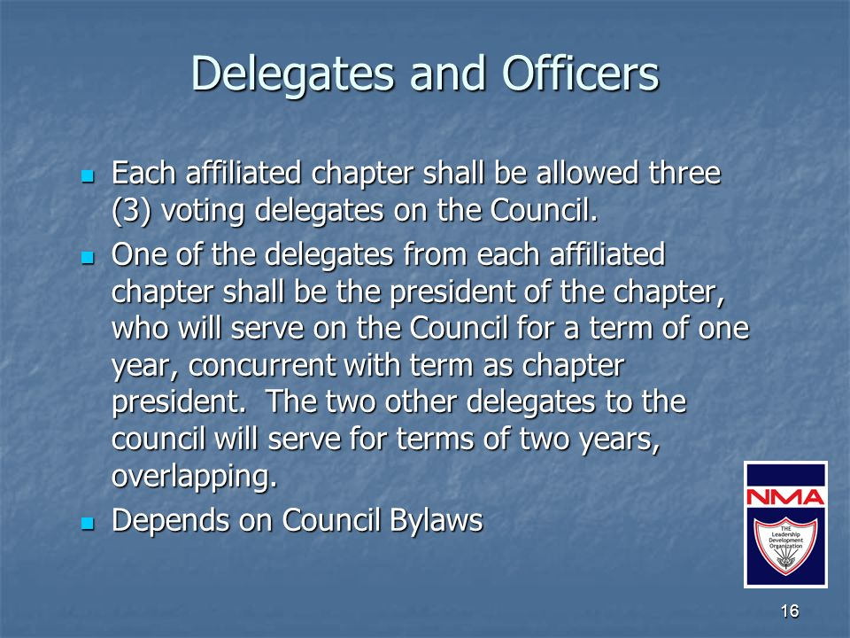 16 Delegates and Officers Each affiliated chapter shall be allowed three (3) voting delegates on the Council.