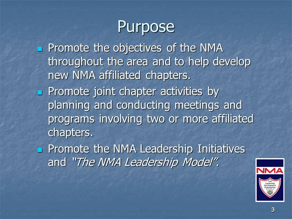 Officers Minimum officers: President President Vice President Vice President Secretary Secretary Treasurer Treasurer All officers must be official delegates of the Council and members in good standing of the NMA.