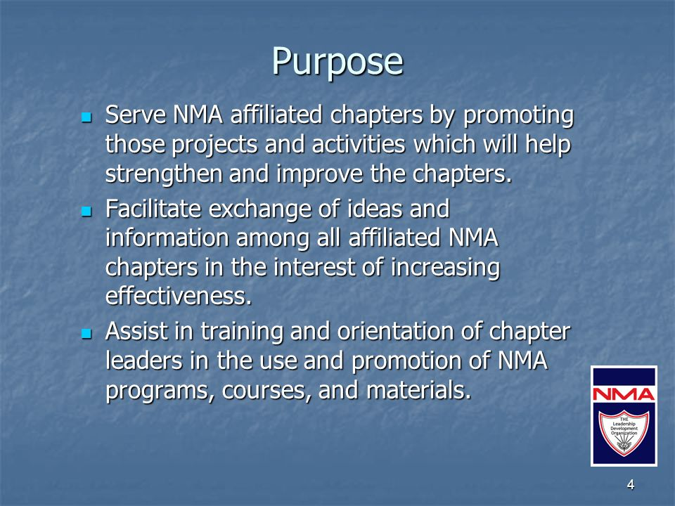 5 Role of the Council NMA Councils are geographic collections of chapters that: NMA Councils are geographic collections of chapters that: Join together to strengthen their individual operations.