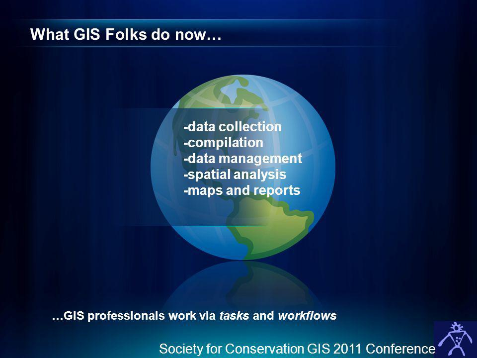 What GIS Folks do now… -data collection -compilation -data management -spatial analysis -maps and reports …GIS professionals work via tasks and workflows