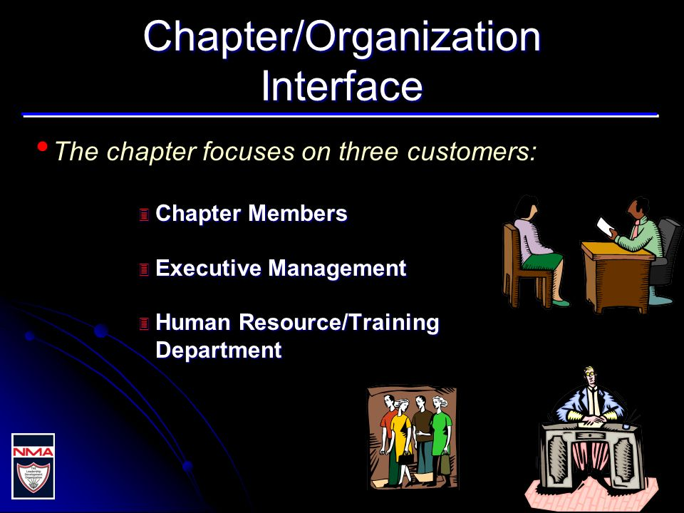 Chapter/Organization Interface The chapter focuses on three customers: 3 Chapter Members 3 Executive Management 3 Human Resource/Training Department
