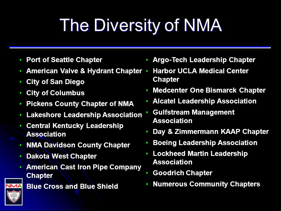 The Diversity of NMA Port of Seattle Chapter American Valve & Hydrant Chapter City of San Diego City of Columbus Pickens County Chapter of NMA Lakeshore Leadership Association Central Kentucky Leadership Association NMA Davidson County Chapter Dakota West Chapter American Cast Iron Pipe Company Chapter Blue Cross and Blue Shield Argo-Tech Leadership Chapter Harbor UCLA Medical Center Chapter Medcenter One Bismarck Chapter Alcatel Leadership Association Gulfstream Management Association Day & Zimmermann KAAP Chapter Boeing Leadership Association Lockheed Martin Leadership Association Goodrich Chapter Numerous Community Chapters