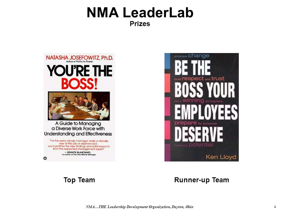 4 NMA LeaderLab Prizes Runner-up TeamTop Team NMA…THE Leadership Development Organization, Dayton, Ohio