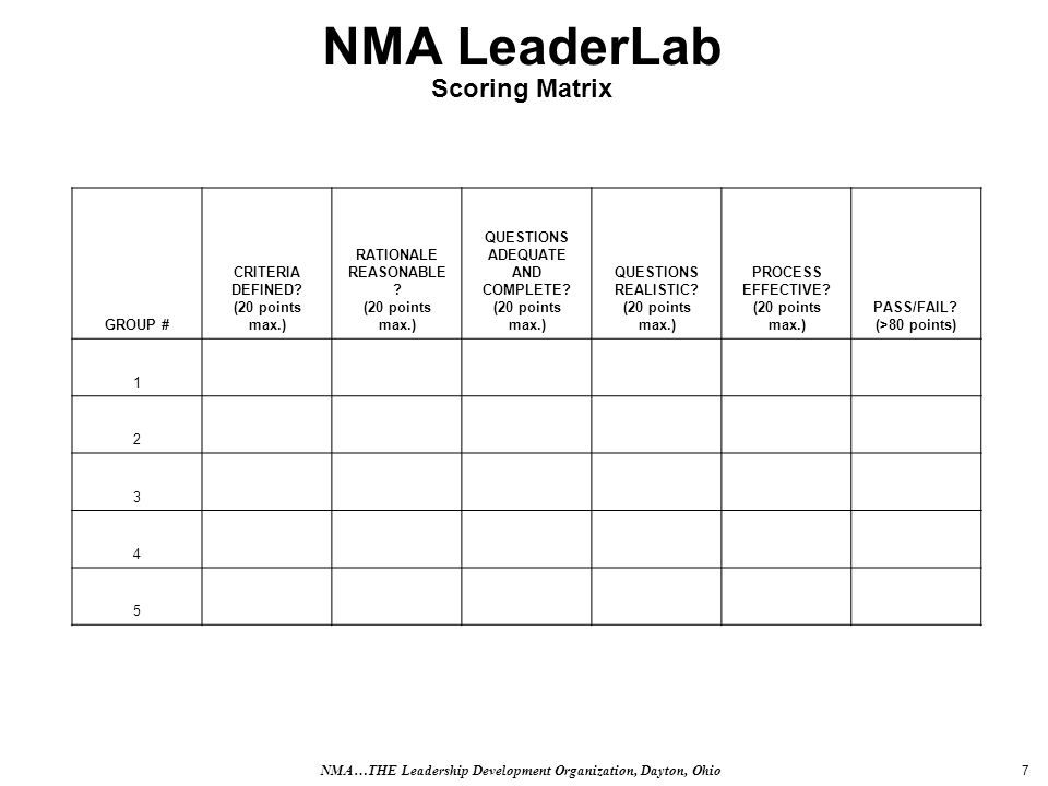 7 NMA LeaderLab Scoring Matrix GROUP # CRITERIA DEFINED.