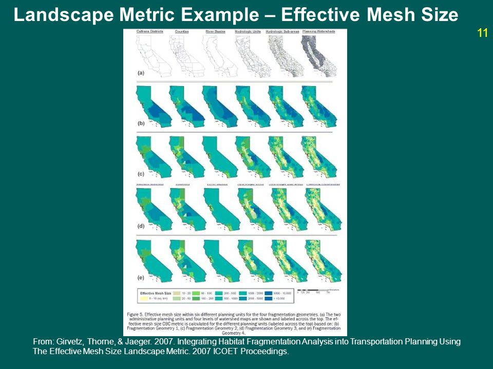 Landscape Metric Example – Effective Mesh Size From: Girvetz, Thorne, & Jaeger. 2007. Integrating Habitat Fragmentation Analysis into Transportation P