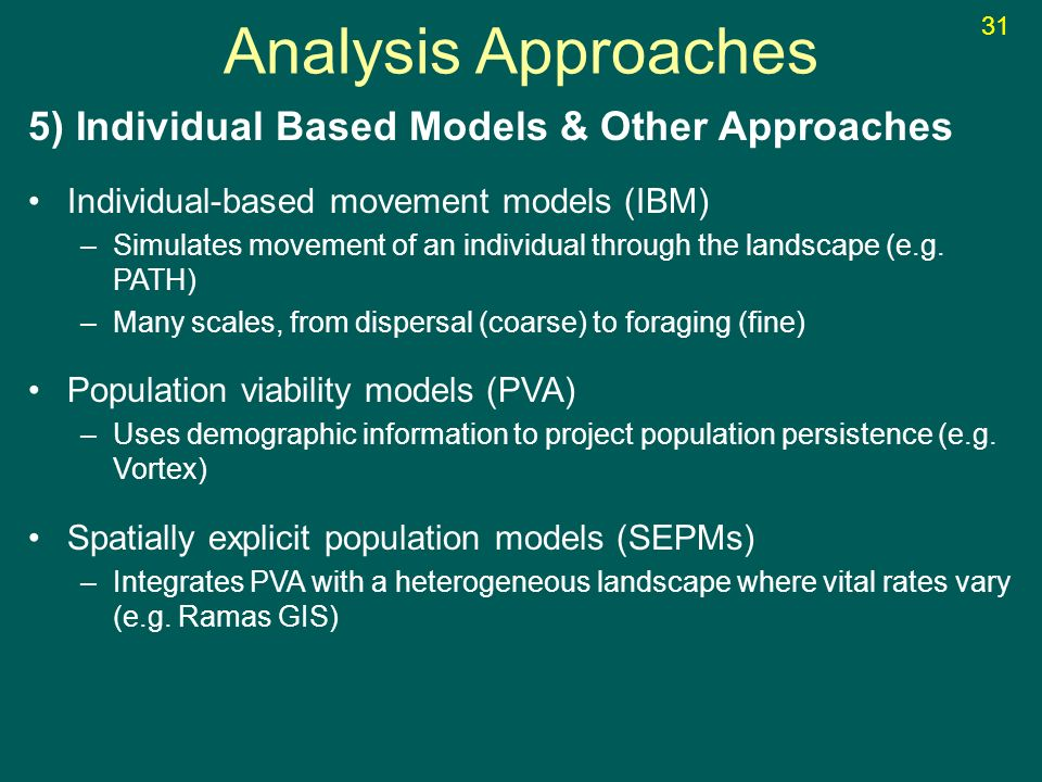 5) Individual Based Models & Other Approaches Individual-based movement models (IBM) –Simulates movement of an individual through the landscape (e.g.