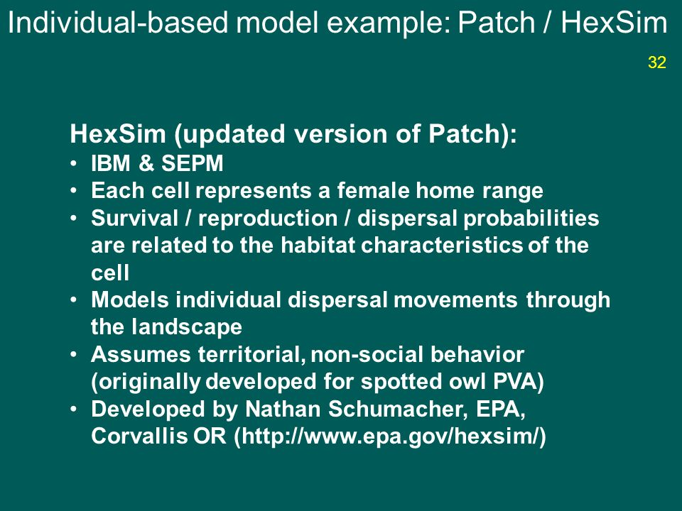 Individual-based model example: Patch / HexSim HexSim (updated version of Patch): IBM & SEPM Each cell represents a female home range Survival / repro