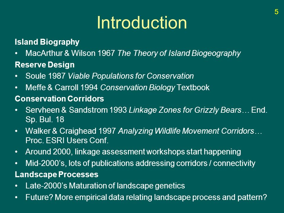 Introduction Island Biography MacArthur & Wilson 1967 The Theory of Island Biogeography Reserve Design Soule 1987 Viable Populations for Conservation