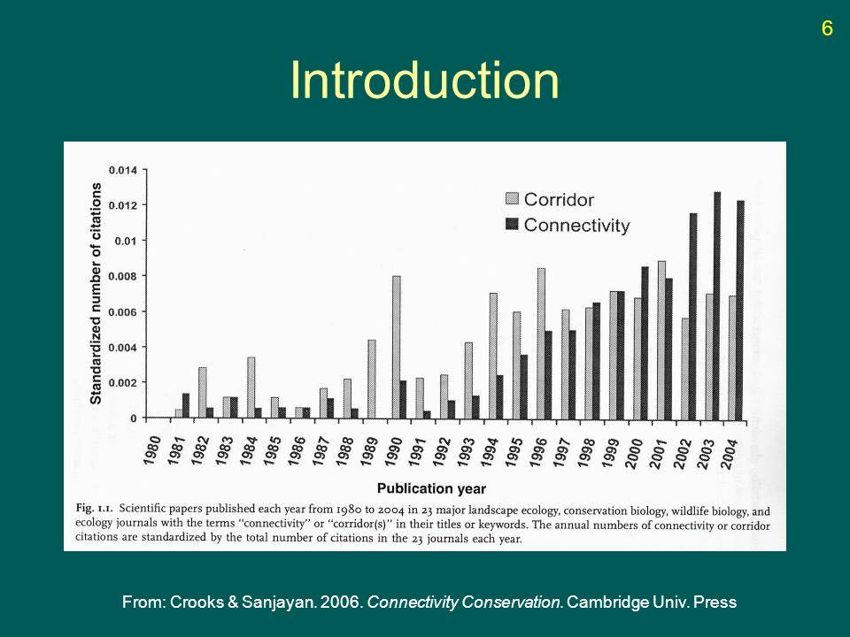 Introduction From: Crooks & Sanjayan. 2006. Connectivity Conservation. Cambridge Univ. Press 6