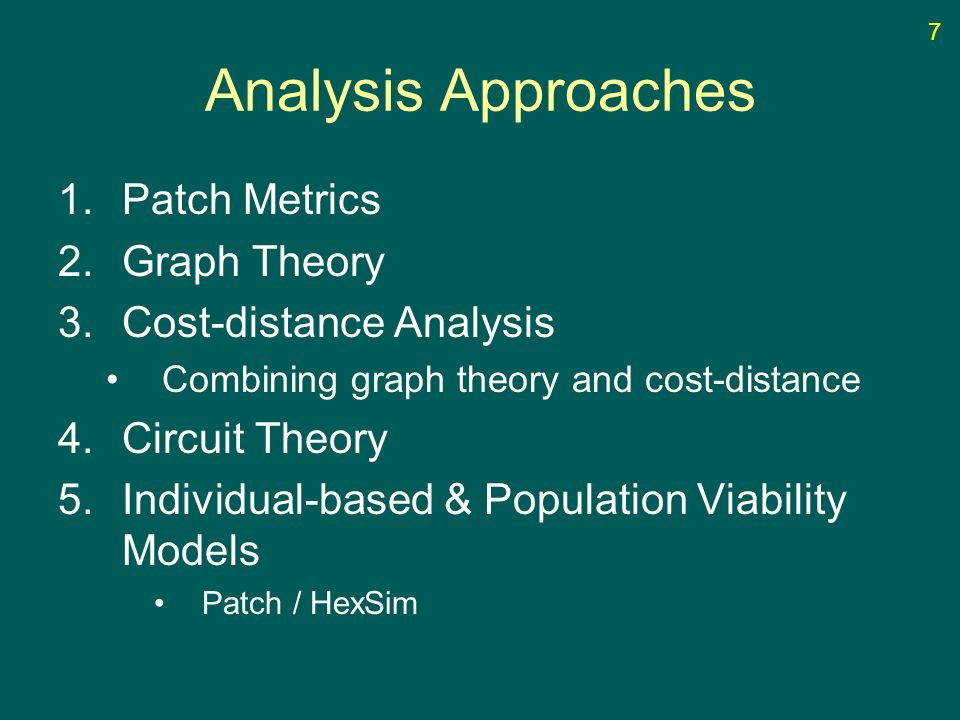 Analysis Approaches 1.Patch Metrics 2.Graph Theory 3.Cost-distance Analysis Combining graph theory and cost-distance 4.Circuit Theory 5.Individual-based & Population Viability Models Patch / HexSim 7