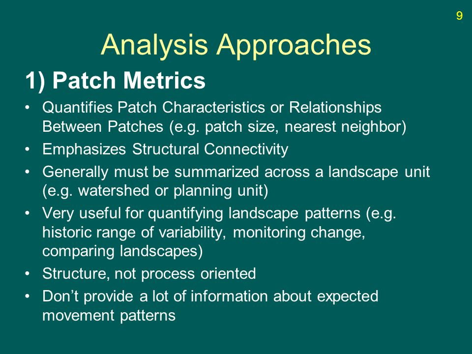 Analysis Approaches 1) Patch Metrics Quantifies Patch Characteristics or Relationships Between Patches (e.g. patch size, nearest neighbor) Emphasizes