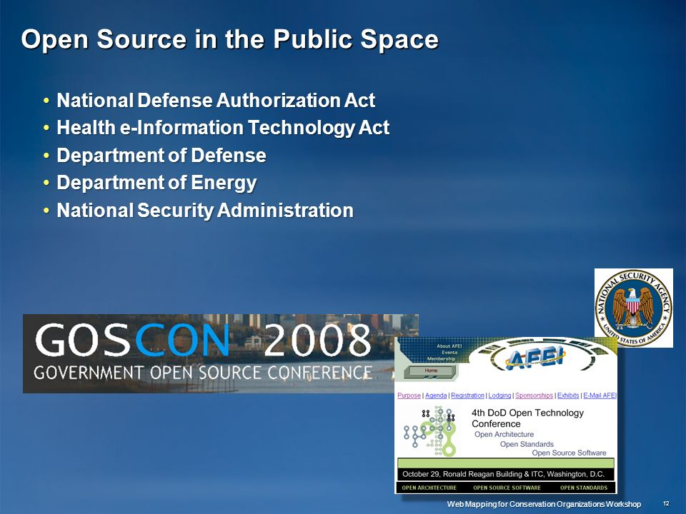 Open Source in the Public Space National Defense Authorization ActNational Defense Authorization Act Health e-Information Technology ActHealth e-Infor