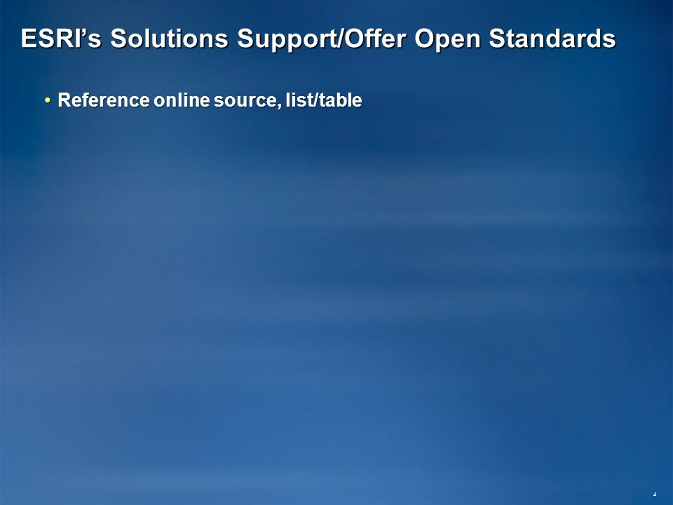 ESRIs Solutions Support/Offer Open Standards Reference online source, list/tableReference online source, list/table 4
