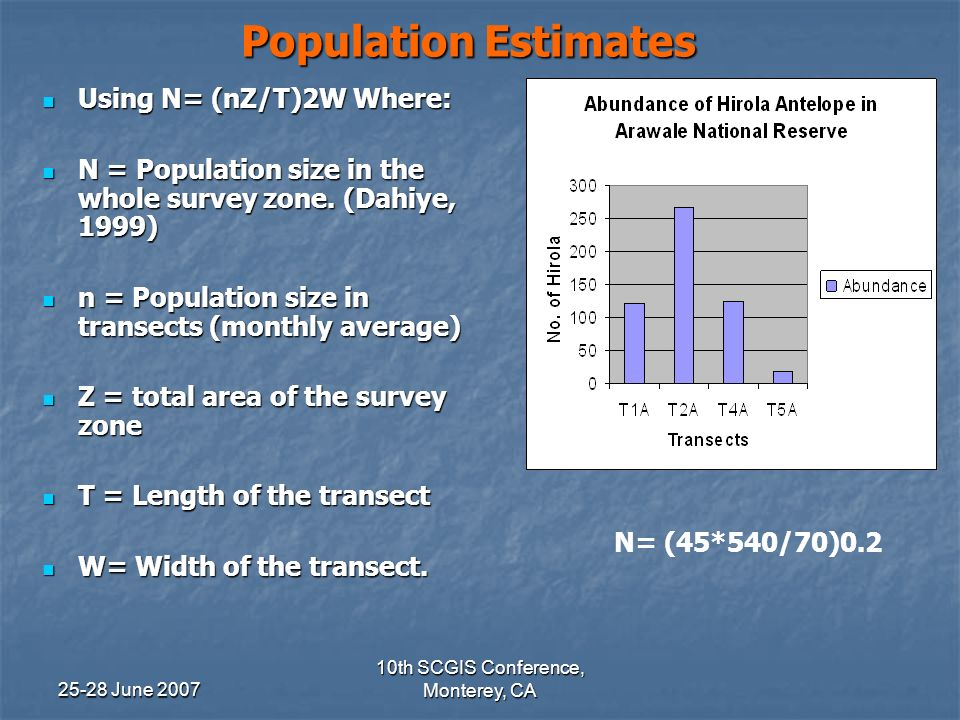 25-28 June 2007 10th SCGIS Conference, Monterey, CA Population Estimates Using N= (nZ/T)2W Where: Using N= (nZ/T)2W Where: N = Population size in the whole survey zone.