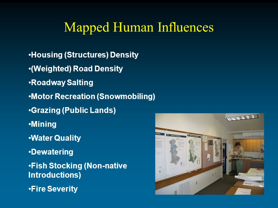Mapped Human Influences Housing (Structures) Density (Weighted) Road Density Roadway Salting Motor Recreation (Snowmobiling) Grazing (Public Lands) Mining Water Quality Dewatering Fish Stocking (Non-native Introductions) Fire Severity