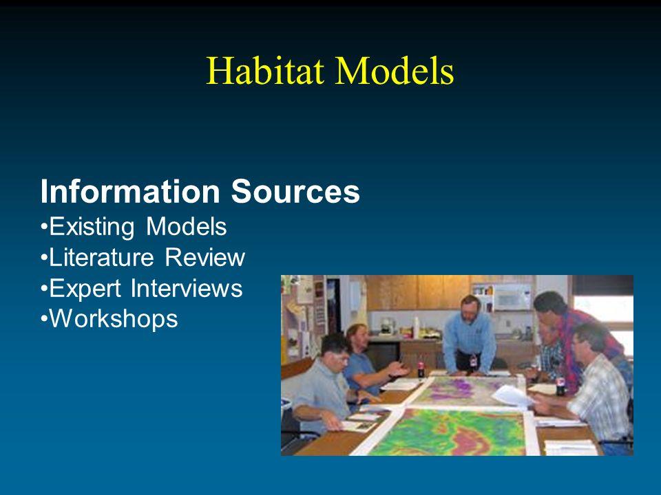 Habitat Models Information Sources Existing Models Literature Review Expert Interviews Workshops