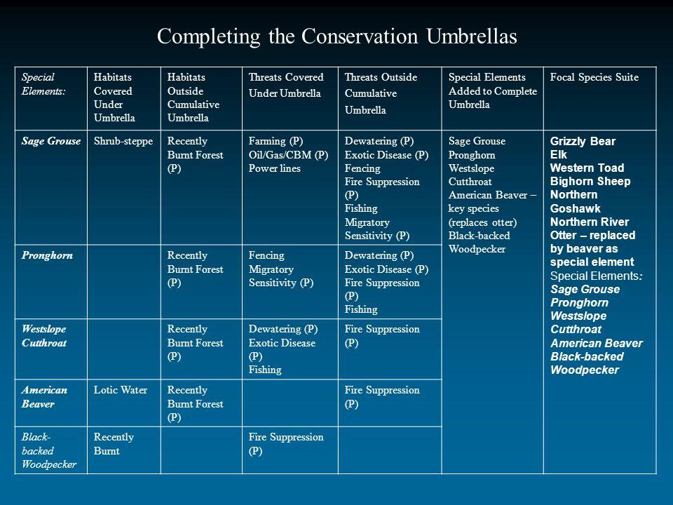 Special Elements: Habitats Covered Under Umbrella Habitats Outside Cumulative Umbrella Threats Covered Under Umbrella Threats Outside Cumulative Umbre