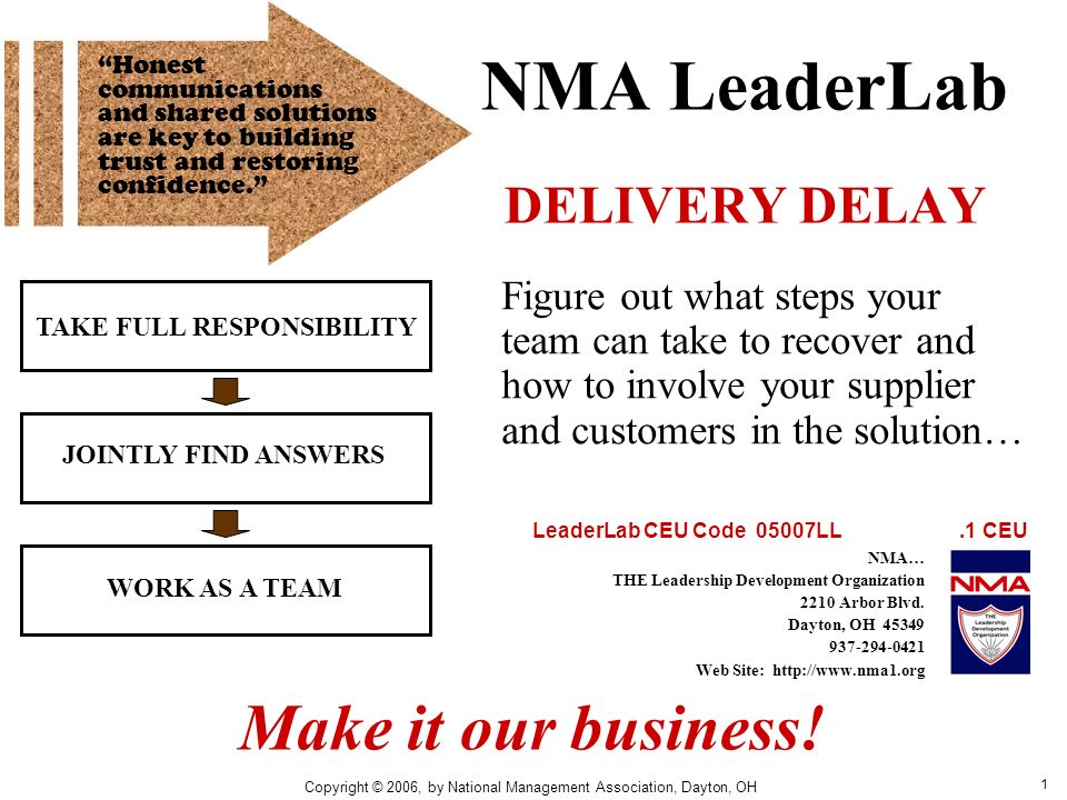 1 NMA LeaderLab DELIVERY DELAY TAKE FULL RESPONSIBILITY JOINTLY FIND ANSWERS WORK AS A TEAM Figure out what steps your team can take to recover and ho