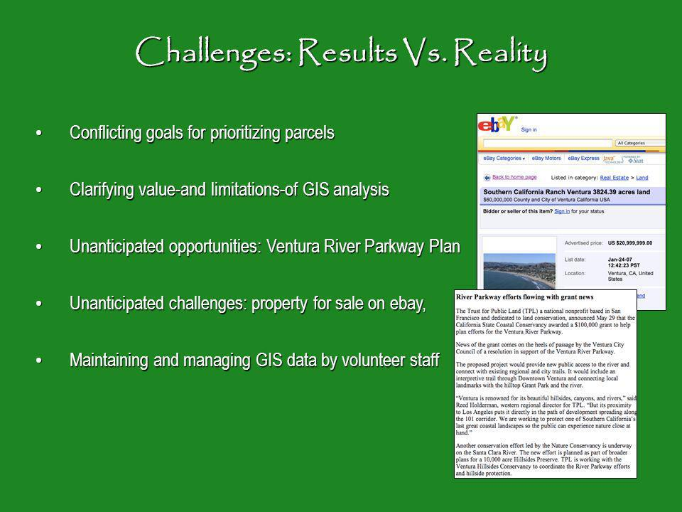 Challenges: Results Vs.