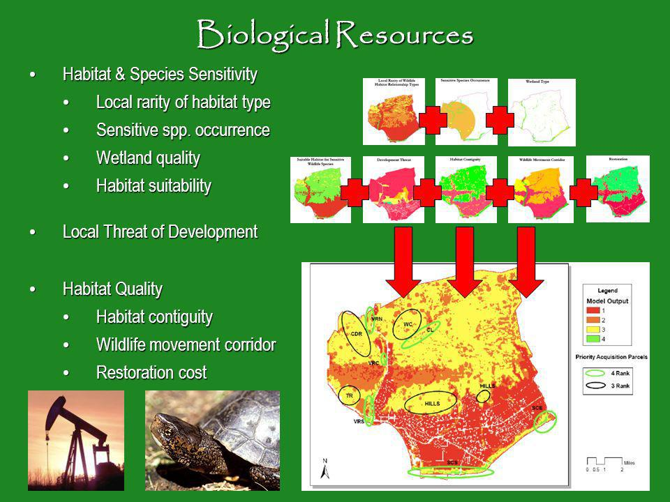 Biological Resources Habitat & Species Sensitivity Habitat & Species Sensitivity Local rarity of habitat type Local rarity of habitat type Sensitive spp.