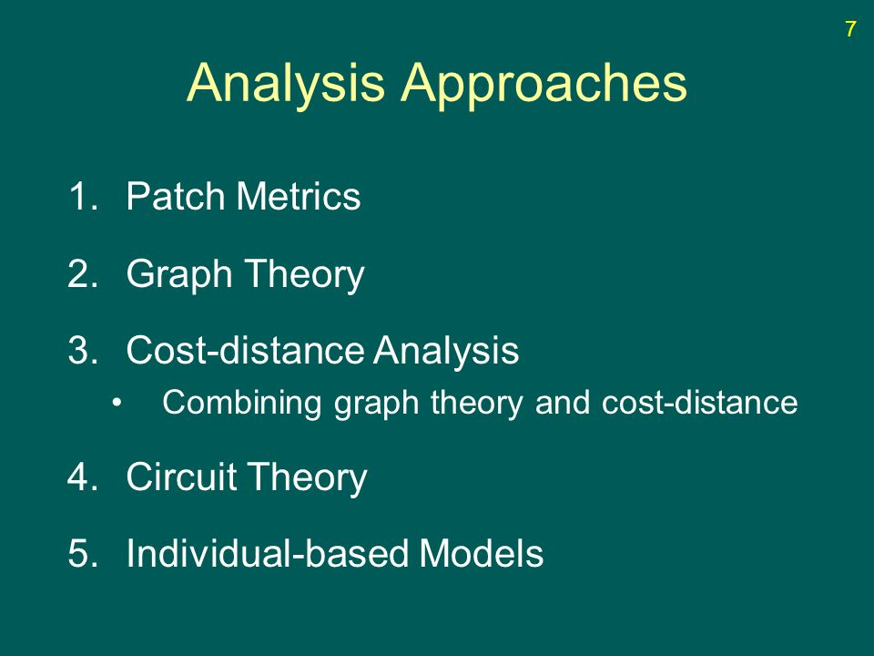 Analysis Approaches 1.Patch Metrics 2.Graph Theory 3.Cost-distance Analysis Combining graph theory and cost-distance 4.Circuit Theory 5.Individual-based Simple Few Assumptions Needs Less Input Info Structural focus Complex Lots of Assumptions Needs More Input Info Process focus 8