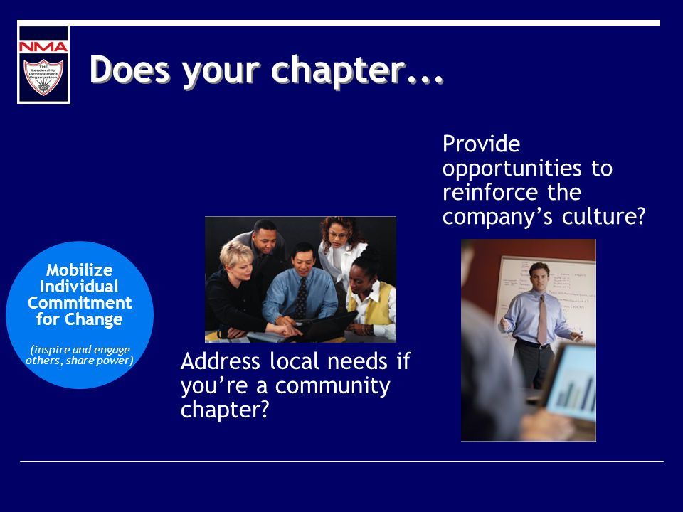 Does your chapter... Address local needs if youre a community chapter? Provide opportunities to reinforce the companys culture? Mobilize Individual Co