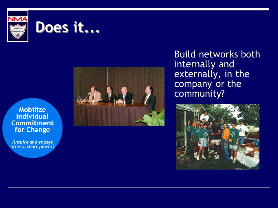 Does it... Build networks both internally and externally, in the company or the community? Mobilize Individual Commitment for Change (inspire and enga