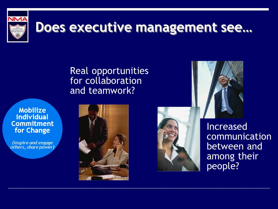 Does executive management see… Increased communication between and among their people? Real opportunities for collaboration and teamwork? Mobilize Ind