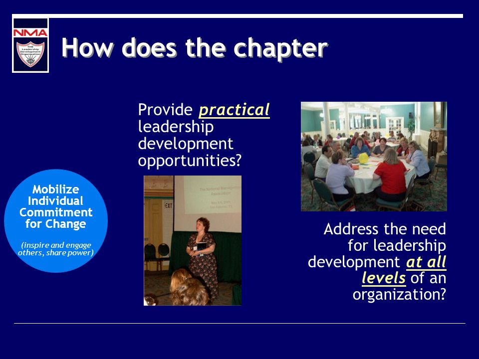 How does the chapter Provide practical leadership development opportunities? Mobilize Individual Commitment for Change (inspire and engage others, sha