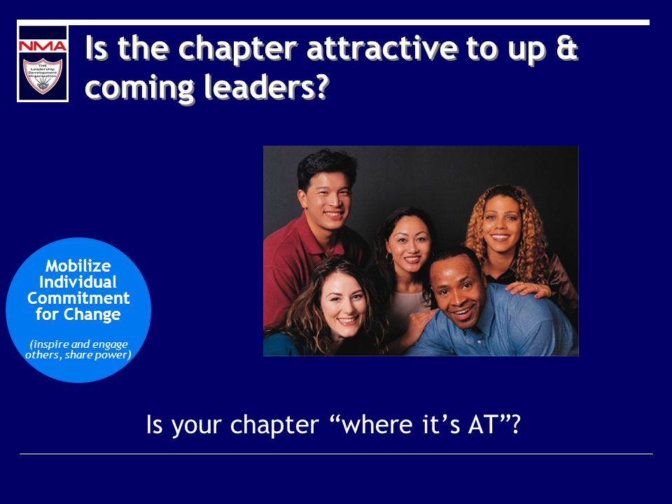Is the chapter attractive to up & coming leaders. Is your chapter where its AT.