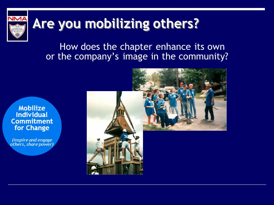 Are you mobilizing others? How does the chapter enhance its own or the companys image in the community? Mobilize Individual Commitment for Change (ins