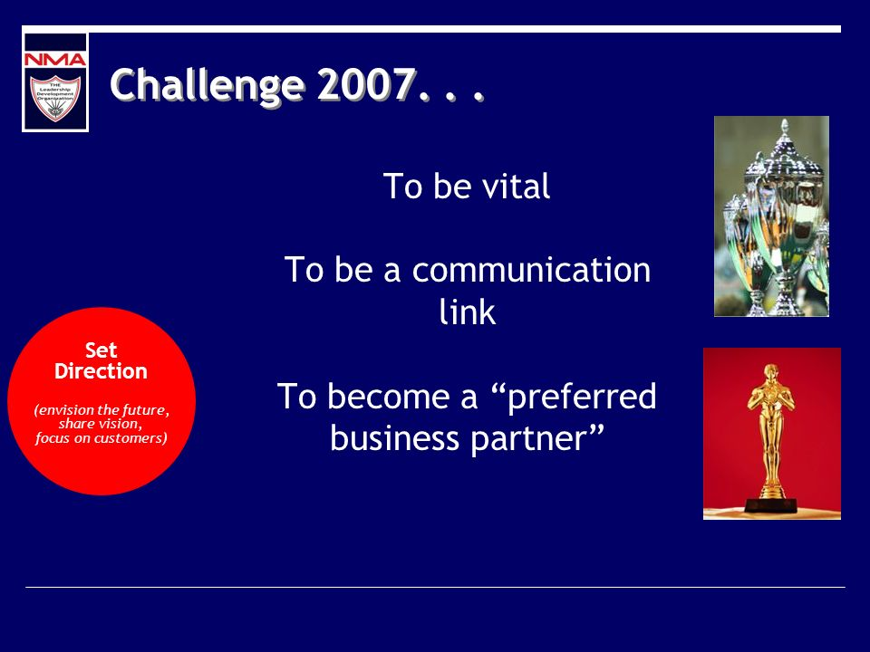 Challenge 2007... To be vital To be a communication link To become a preferred business partner Set Direction (envision the future, share vision, focu