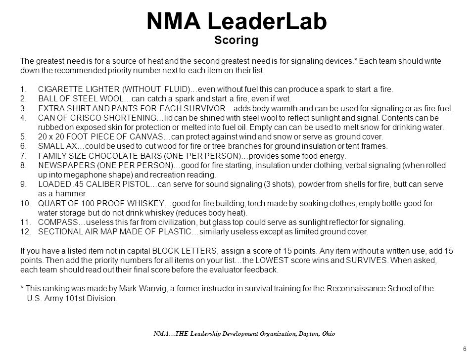 6 NMA LeaderLab Scoring The greatest need is for a source of heat and the second greatest need is for signaling devices.* Each team should write down