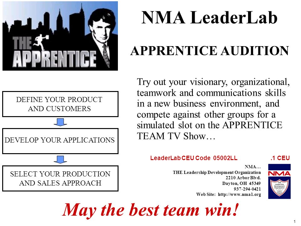 1 NMA LeaderLab APPRENTICE AUDITION DEFINE YOUR PRODUCT AND CUSTOMERS DEVELOP YOUR APPLICATIONS SELECT YOUR PRODUCTION AND SALES APPROACH Try out your